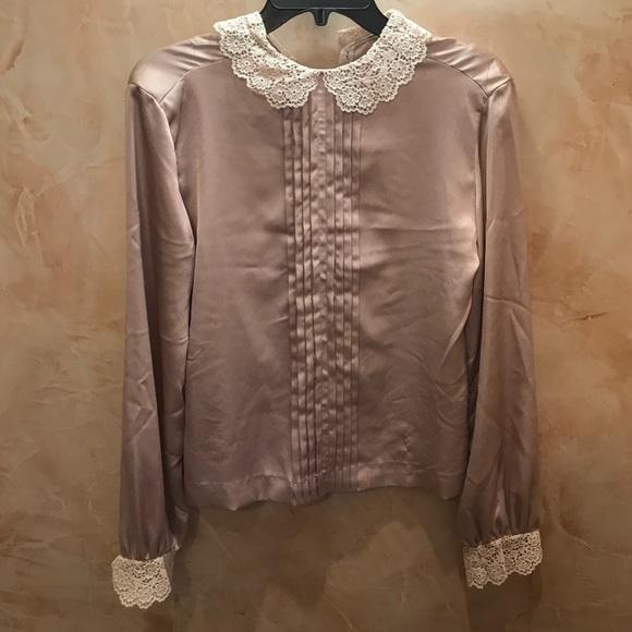 b0d4d38f52cf75 Ellen Tracy Vintage Silk and Lace Blouse